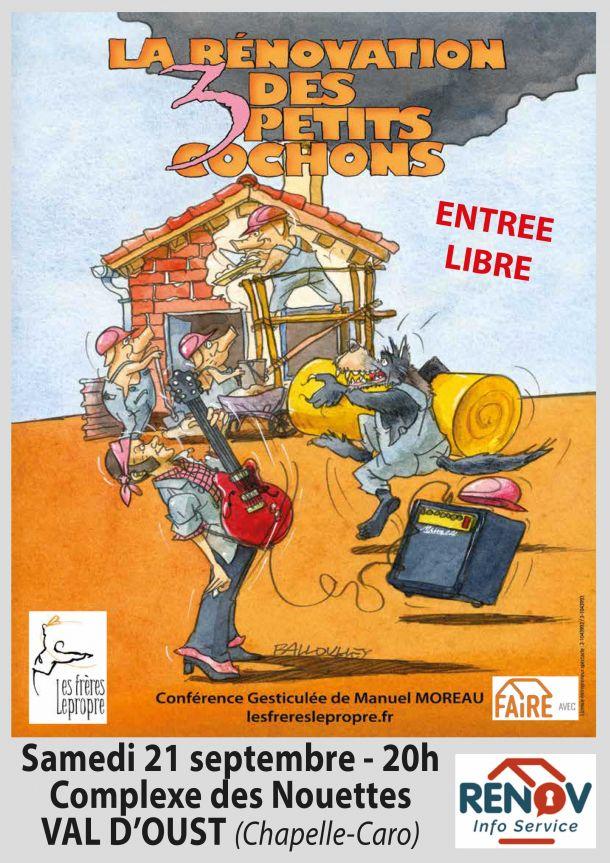 """Conférence gesticulée """"La rénovation des 3 petits cochons"""""""