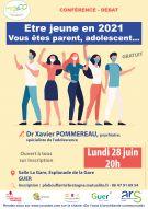 """Conférence-Débat """"Etre jeune en 2021 : vous êtes parents, adolescents..."""""""